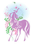 Horse and Butterflies. Horse's gracing with flowers and butterflies Stock Photo