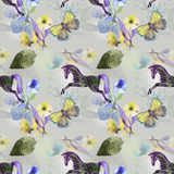 Horse and butterfly on pattern Royalty Free Stock Photography