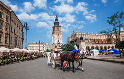 Horse cab on Main Square of Krakow Stock Image