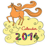 Horse calendar 2014 cover. Calendar 2014 year of the horse, graphic illustration of the calendar cover with toy doodle and original hand drawn text Stock Image
