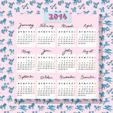 Horse calendar 2014 with toys. Hand drawn illustration of 2014 calendar over a pink seamless pattern with blue toy horses doodles Stock Photos