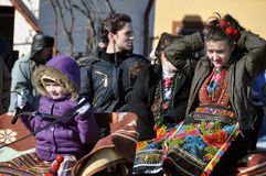 In horse car. Every March, the Bulgarian community in Targoviste city of Romania celebrates the Eastern of the horses. People thank the horses for their help at Royalty Free Stock Image