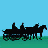 Horse car with people. Man transport Royalty Free Stock Photo