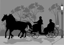 Horse cariage. In the town vector illustration