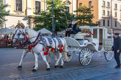 Horse and Carrage. In Old Town Square Krakow Poland Royalty Free Stock Photos