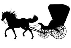 Horse with carriage. Black silhouette of a horse with carriage Royalty Free Stock Photos