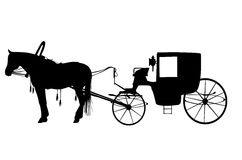 Horse with carriage. Black silhouette of a horse with carriage Stock Photos