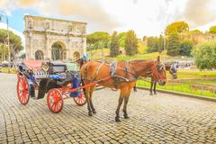 Horse carriage at Arco di Costantino Royalty Free Stock Image
