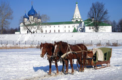 Horse carriage on the background of the Kremlin in Suzdal Stock Image