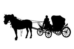 Horse and carriage black silhouettes Royalty Free Stock Image
