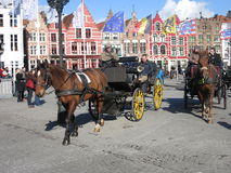 Horse and carriage in Bruges Royalty Free Stock Images