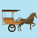 Horse carriage cart asia vector delman old traditional transportation indonesia Royalty Free Stock Image