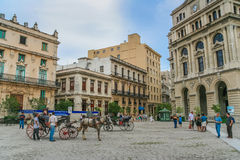 Horse and carriage on the central square in Havana Stock Photography