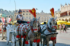Horse carriage for city sightseeing tours in Krakow Royalty Free Stock Image