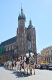 Horse carriage for city sightseeing tours in Krakow Royalty Free Stock Photos