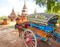 Horse carriage and Daw Gyan Pagoda complex, Ava, Myanmar 3 Royalty Free Stock Image