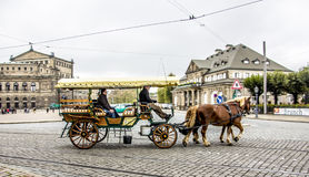Horse Carriage in Dresden Stock Images