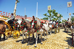 Horse carriage, Fair in Seville, Andalusia, Spain Stock Photo