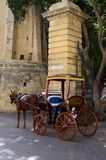 Horse carriage in front of building in Valletta,Malta. Traditional horse carriage in front of yellow brick building in Valletta,Malta Royalty Free Stock Images