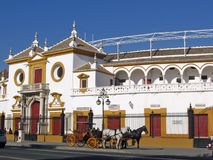 Horse carriage in front of bullring. In Sevilla,Spain Royalty Free Stock Photo