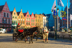 Horse carriage on Grote Markt square in Bruges Royalty Free Stock Photos