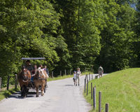 Horse carriage. Hiking through the Bavarian Alps of Southern Germany stock photos