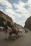 Horse carriage in the historic center of the city. Krakow, Polan. Beautiful Horse carriage in the historic center of the city. Krakow, Poland, June 17th 2016 Royalty Free Stock Photography