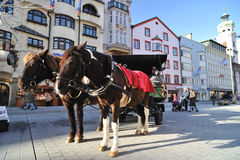 Horse carriage in Innsbruck Stock Image