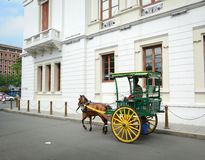 Horse with carriage in Intramuros, Manila. MANILA, PHILIPPINES - MAR 18, 2015. Horse with carriage in Intramuros, Manila, Philippines. Intramuros is the oldest Royalty Free Stock Photo