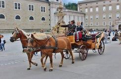 Horse and carriage at Kapitelplatz, Salzburg Royalty Free Stock Photo