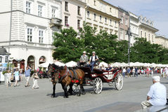 Horse carriage on the main market of Krakow Stock Images