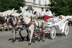 Horse carriage on the main market of Krakow Royalty Free Stock Photography