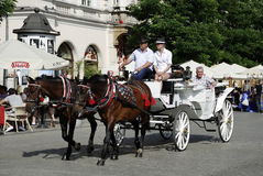 Horse carriage on the main market of Krakow Royalty Free Stock Images