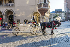 Horse and carriage at the Main Square in Krakow. KRAKOW, POLAND - OCT 7, 2014: Horse and carriage at the Main Square in Krakow. Taking a horse ride in a carriage royalty free stock image