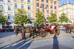 Horse and carriage at the Main Square in Krakow. KRAKOW, POLAND - OCT 7, 2014: Horse and carriage at the Main Square in Krakow. Taking a horse ride in a carriage royalty free stock images