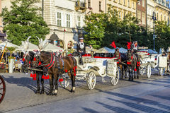 Horse and carriage at the Main Square in Krakow. KRAKOW, POLAND - OCT 7, 2014: Horse and carriage at the Main Square in Krakow. Taking a horse ride in a carriage stock images