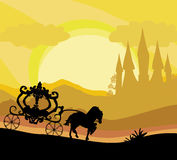 Horse carriage and a medieval castle Royalty Free Stock Image