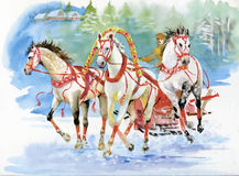 Horse carriage outdoors. Horses folk painting Royalty Free Stock Photography