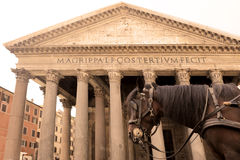 Horse carriage and Pantheon Stock Image