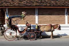 Horse and Carriage Parked At Side Street Royalty Free Stock Images