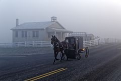 A Horse and Carriage Passes an Amish School House. A horse and carriage drives by an Amish school house on a foggy winter morning in Lancaster County royalty free stock images
