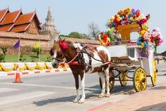 Horse carriage. At Phrathat Lampang Luang temple in Lampang, Thailand Stock Photo