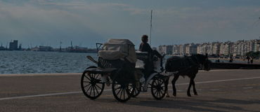 Horse carriage. A picture of a horse carriage in a greek town Thessaloniki,in a summer day Royalty Free Stock Image