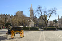 Horse carriage at Plaza del triunfo Stock Photos