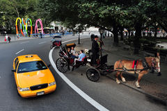 Horse and Carriage Rides in Central Park Royalty Free Stock Photos