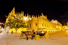 Horse carriage in Seville Cathedral. Seville, Andalusia, Spain - April 18, 2016: typical old carriage drawn by a white horse stopped in front of Cathedral of Royalty Free Stock Photography