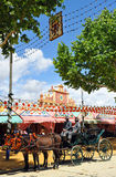 Horse carriage in the Seville Fair, Andalusia, Spain Royalty Free Stock Photos
