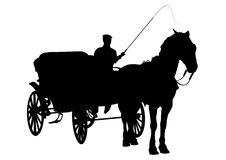 Horse and carriage silhouette. With figure holding whip stock illustration