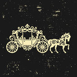Horse-Carriage silhouette with horse. Vector illustration of brougham in baroque style. Vintage carriage  on dark backgrou Stock Photography