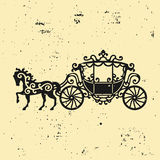 Horse-Carriage silhouette with horse. Vector illustration of brougham in baroque style. Vintage carriage isolated on dark backgrou Royalty Free Stock Image